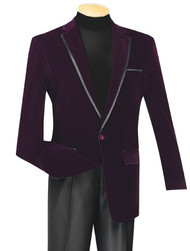 Vinci Wine Trimmed Velvet Sportcoat