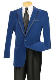 Vinci Blue Trimmed Velvet Sportcoat