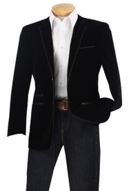 Vinci Trimmed Black Velvet Slim Fit Sportcoat
