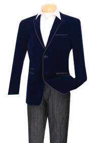 Vinci Trimmed Navy Velvet Slim Fit Sportcoat