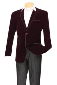 Vinci Trimmed Wine Velvet Slim Fit Sportcoat