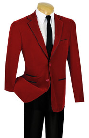 Vinci Trimmed Red Velvet Slim Fit Sportcoat