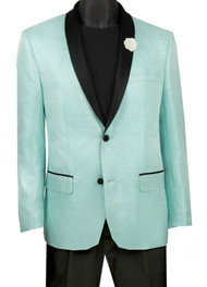 Vinci Aqua Metallic Sateen Slim Fit Sportcoat