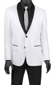 Vinci White Metallic Sateen Slim Fit Sportcoat