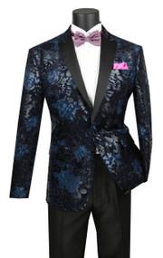 Vinci Blue Floral Slim Fit Sportcoat