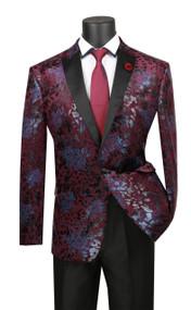 Vinci Wine Floral Slim Fit Sportcoat