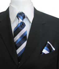 Antonia Silk Tie w/Pocket Square - Blue and White Stripe