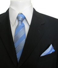 Antonia Silk Tie w/Pocket Square - Sky Blue Stripe