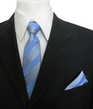 Antonia Silk Tie w/Pocket Square - Sky Blue Stripe