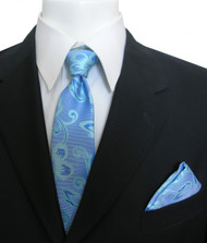 Antonia Silk Tie w/Pocket Square - Blue and Aqua Floral