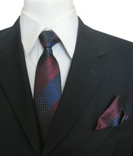 Antonia Silk Tie w/Pocket Square - Navy and Burgundy Diamonds