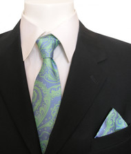 Antonia Silk Tie w/Pocket Square - Blue and Sea Green Floral