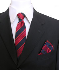 Antonia Silk Tie w/Pocket Square - Navy and Dark Red Stripe