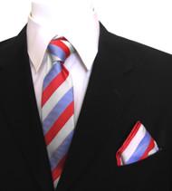 Antonia Silk Tie w/Pocket Square - Red, White & Blue Stripe