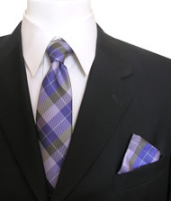 Antonia Silk Tie w/Pocket Square - Purple Plaid