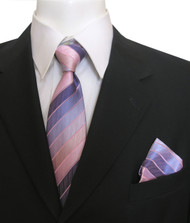 Antonia Silk Tie w/Pocket Square - Purple and Pink Stripes
