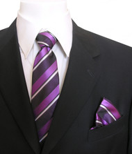 Antonia Silk Tie w/Pocket Square - Purple Stripes