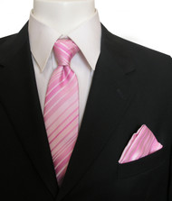 Antonia Silk Tie w/Pocket Square - Pink Stripes