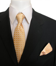 Antonia Silk Tie w/Pocket Square - Yellow Squares