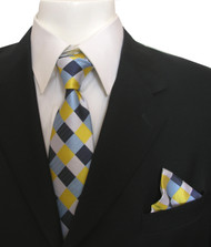 Antonia Silk Tie w/Pocket Square - Yellow and Blue Diamonds