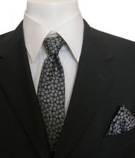 Antonia Silk Tie w/Pocket Square - Tiny Snowflakes on Black