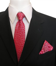 Antonia Silk Tie w/Pocket Square - Tiny Snowflakes on Red