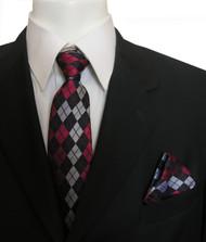Antonia Silk Tie w/Pocket Square - Red and Black Argyle