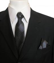 Antonia Silk Tie w/Pocket Square - Charcoal and Black Diamonds