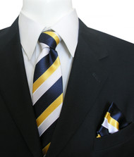 Antonia Silk Tie w/Pocket Square - Yellow and Blue Stripes