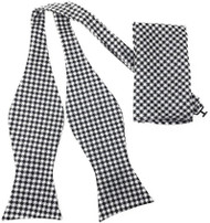 Black & White Houndstooth Self Tie Silk Bow Tie Set