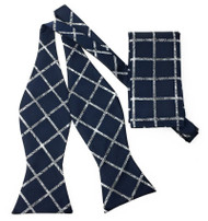 Navy Windowpane Self Tie Silk Bow Tie Set