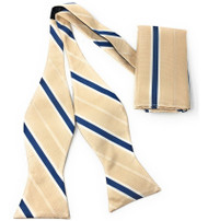 Blue Stripe on Ivory Self Tie Silk Bow Tie Set
