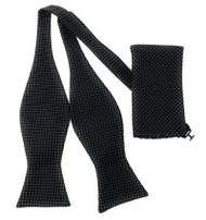Black Mini Dot Self Tie Silk Bow Tie Set
