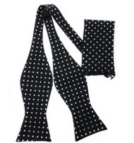 Black with Silver Polka Dots Self Tie Silk Bow Tie Set