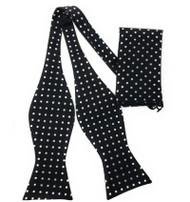 Black with Silver Polka Dots Self Tie Silk Bow Tie Set