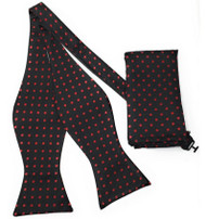 Black with Red Polka Dots Self Tie Silk Bow Tie Set