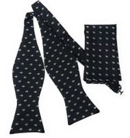 Black with Fleur de Lis Symbols Self Tie Silk Bow Tie Set