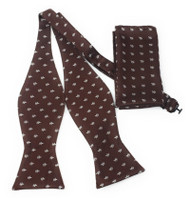 Brown with Fleur de Lis Symbols Self Tie Silk Bow Tie Set