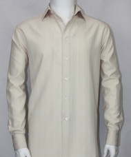 Bassiri Cream Tonal Stripes Long Sleeve Camp Shirt