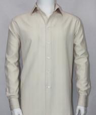 Bassiri Cream Tonal Stripes Long Sleeve Camp Shirt