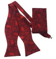 Red Paisley Self Tie Silk Bow Tie Set