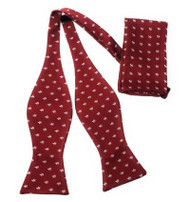 Red with Fleur de Lis Symbols Self Tie Silk Bow Tie Set