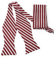 Dark Red and White Stripe Self Tie Silk Bow Tie Set