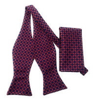 Dark Red and Navy Windowpane Self Tie Silk Bow Tie Set