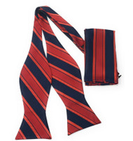 Red and Navy Regiment Stripe Self Tie Silk Bow Tie Set