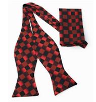 Dark Red and Black Diamonds Self Tie Silk Bow Tie Set
