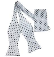 Black Polka Dots on Grey Self Tie Silk Bow Tie Set