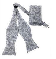 Grey Paisley Self Tie Silk Bow Tie Set