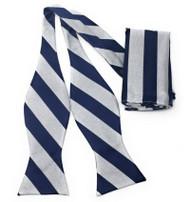 Blue Stripe on Grey Self Tie Silk Bow Tie Set