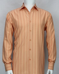 Bassiri Orange Faded Stripes Long Sleeve Camp Shirt